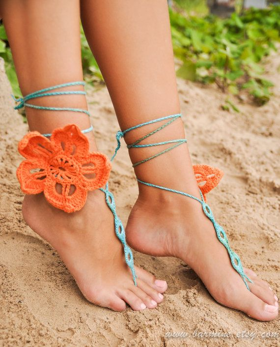 Tropical flower Crochet Barefoot Sandals Lace shoes by barmine