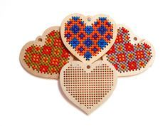 Christmas heart  cross stitch blank / Homemade by TinyLizardGifts