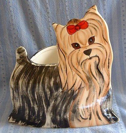 Handpainted YORKSHIRE TERRIER Yorkie Puppy DOG Planter Vase: Terriers Yorkie, Puppies Dogs, Folk, Yorkie Puppies, Pets Shops, Planters Vases, Precious Puppies, Dogs Planters, Yorkshire Terriers