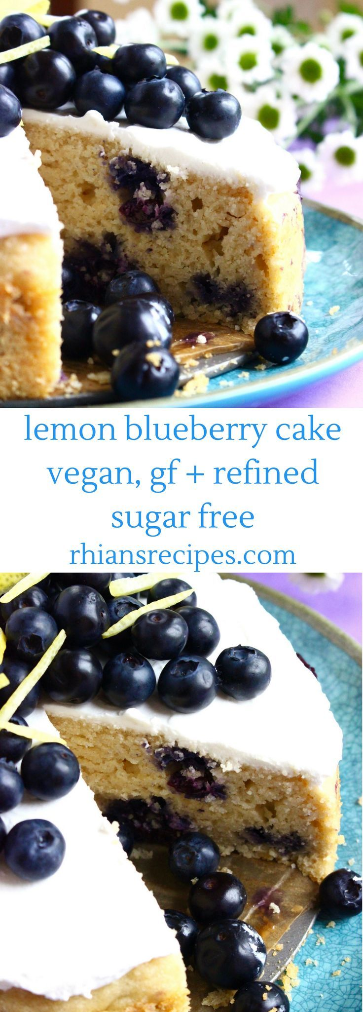 This Gluten-Free Vegan Lemon Blueberry Cake is so easy to make, super fruity, and includes a delicious cream cheese frosting! Refined sugar free.