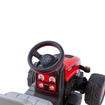Peg Perego 6 Volt Case IH Lil Tractor with Trailer - Red