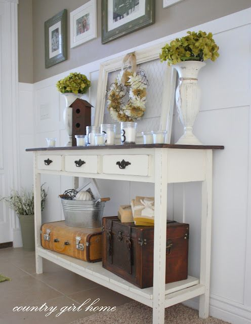 suitcases on the bottom shelf: Entry Way, Decor Ideas, Entry Tables, Console Table, Decorating Ideas, Country Girls, House, Country Girl Home, Entryway