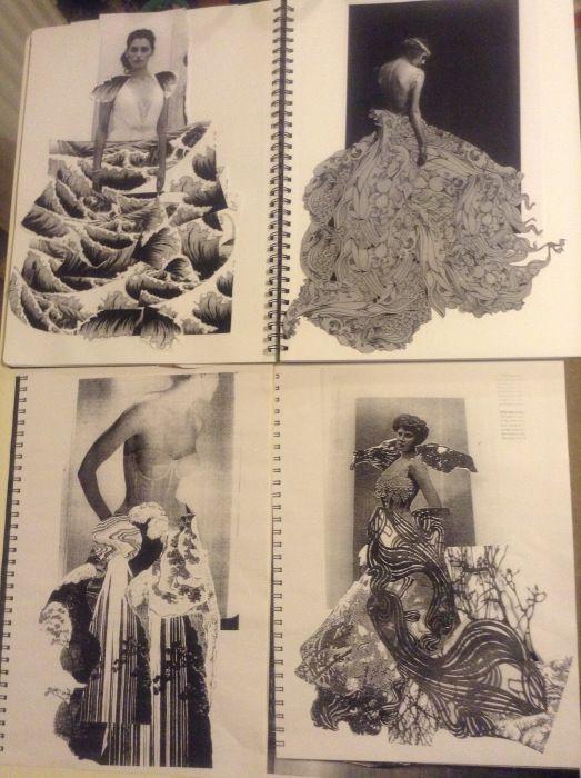 Fashion Sketchbook - fashion design research & development for a paper dress project; fashion portfolio // Anna Ackred: