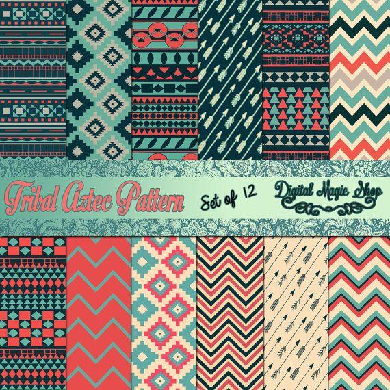 Utilisent 12 tribal aztèque modèles numérique papier horizons - bleu rose vert…