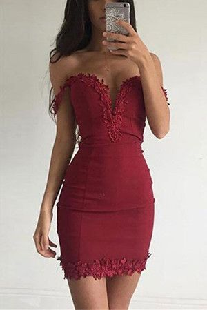 Burgundy Plunge Off The Shoulder Mini Dress with Lace Details