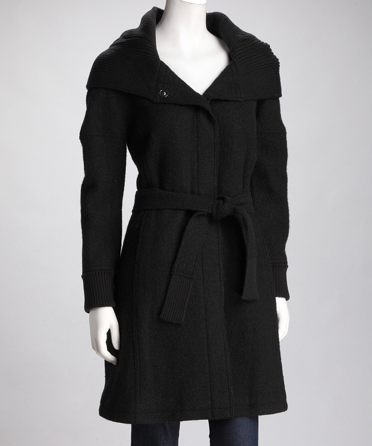 Hilary Radley Black Hooded Wool Coat