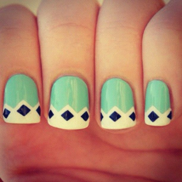 mint, black and white nails