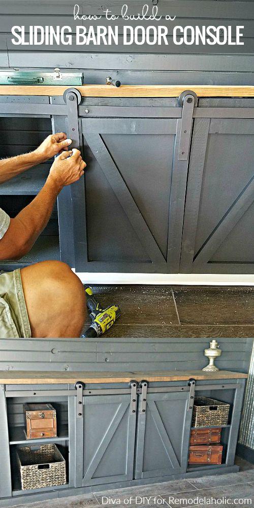 How To Build A Sliding Barn Door Console For An Entertainment Center Or Media Room | Farmhouse style | DIY barn doors