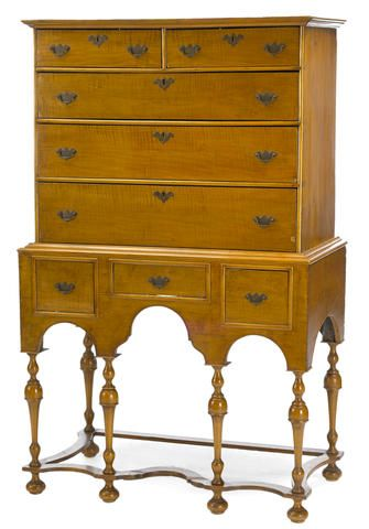 A William And Mary Tiger Maple Chest On Stand New England