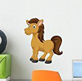Cute Horse Cartoon Wall Decal by Wallmonkeys Peel and Stick Graphic (12 in H x 10 in W) WM132054
