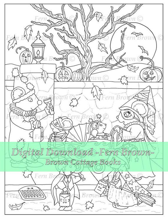 Halloween Adult Coloring Page Printable Download Animal Digi Stamp