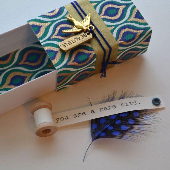 Rare Bird Message Box/petit coffret avec bobine message minuscules à l