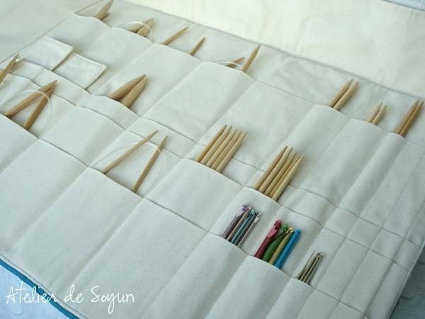 Custom Large Straight Knitting Needle Case Roll up Holder Project Bag     want to make one!