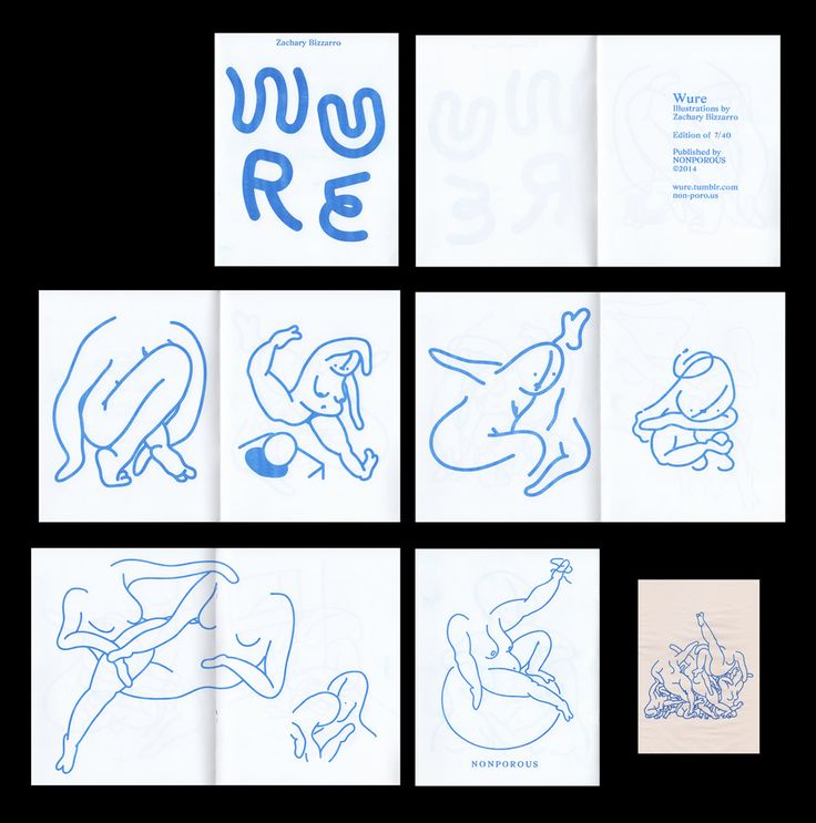 San Francisco Based Illustrator Zachary Bizzarro A Collection Of Wildly Grotesque Abstract Digital Illustrations 16 Pg X One Color Blue Riso Print