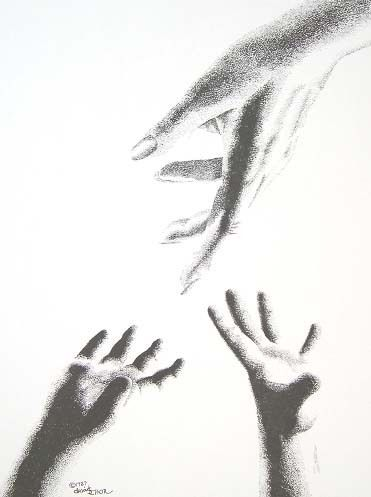 drawing of woman reaching up | Helping Hands. Child ...