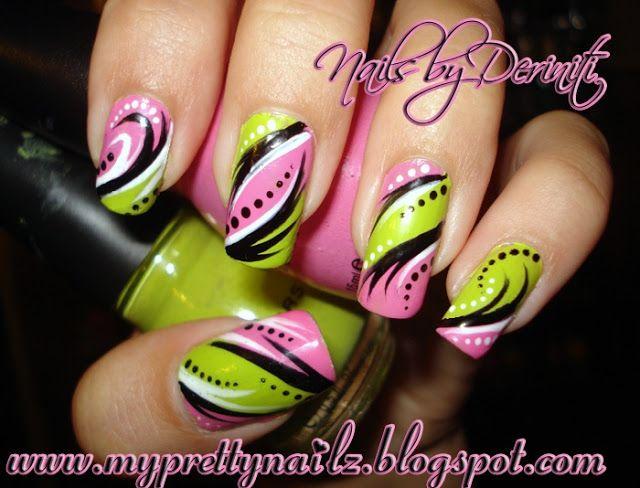 My Pretty Nailz: Bright Pink & Green Hand Painted Tribal Nail Art Design - freehand nail art, handpainted nail art, exotic nail art, urban nail art, funky nail art, fun nail art, tribal nail art, tribal nails, abstract nail art, diy nail art, neon nail art, bright nail art, pink and green nail art, striper nail art, dotter nail art, dots and stripes nail art