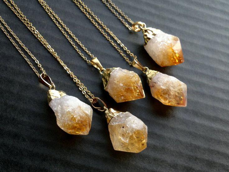 Citrine Necklace Citrine Pendant Citrine Jewelry Raw Rough Gold Dipped Citrine Crystal Necklace Orange Stone Pendant November Birthstone (19.50 EUR) by SinusFinnicus