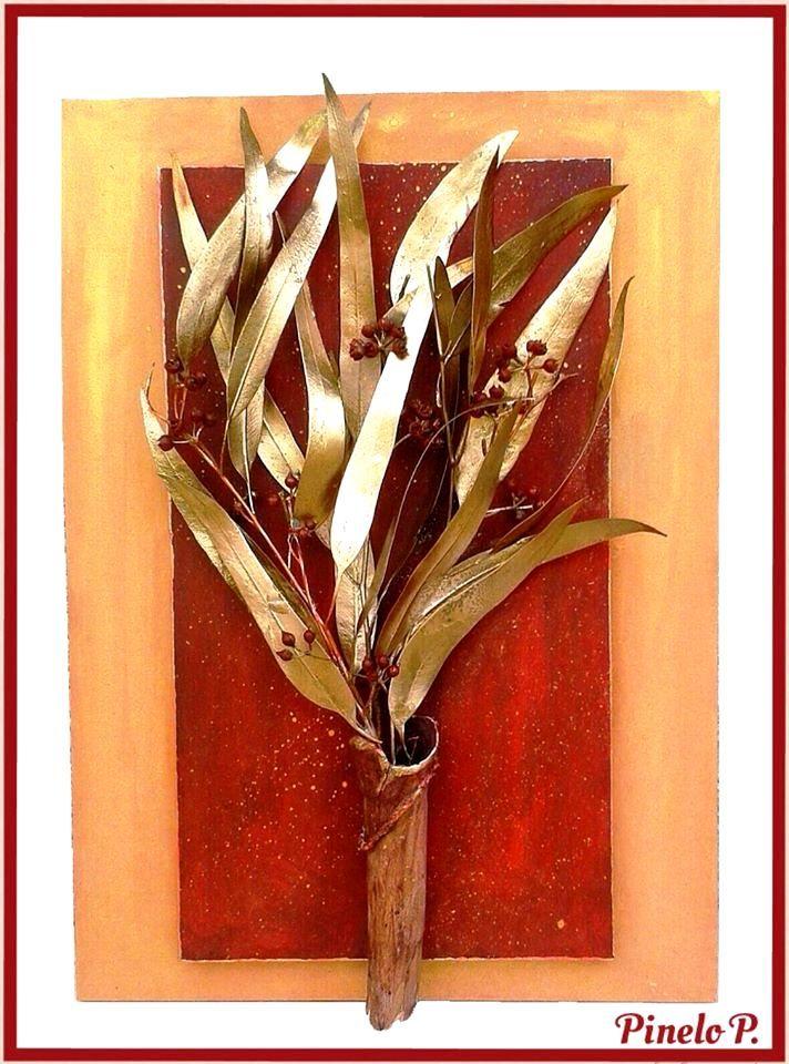 Frame with golden leaves! www.facebook.com/pinelokallitexnimata
