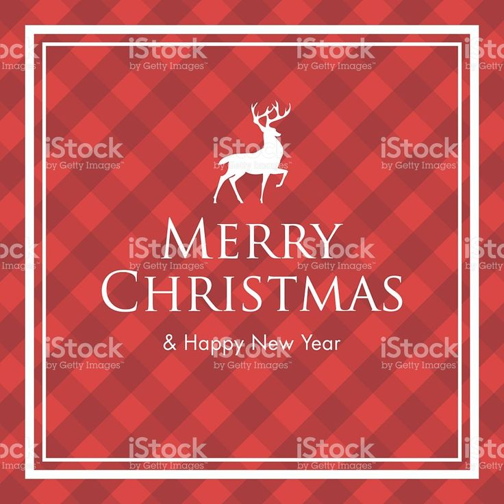Christmas card with deer, logo title and gingham pattern background royalty-free stock vector art