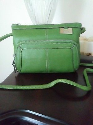 7fddce8205478 TIGNANELLO Green Leather Crossbody Bag Built In Organizer Wallet Pocket