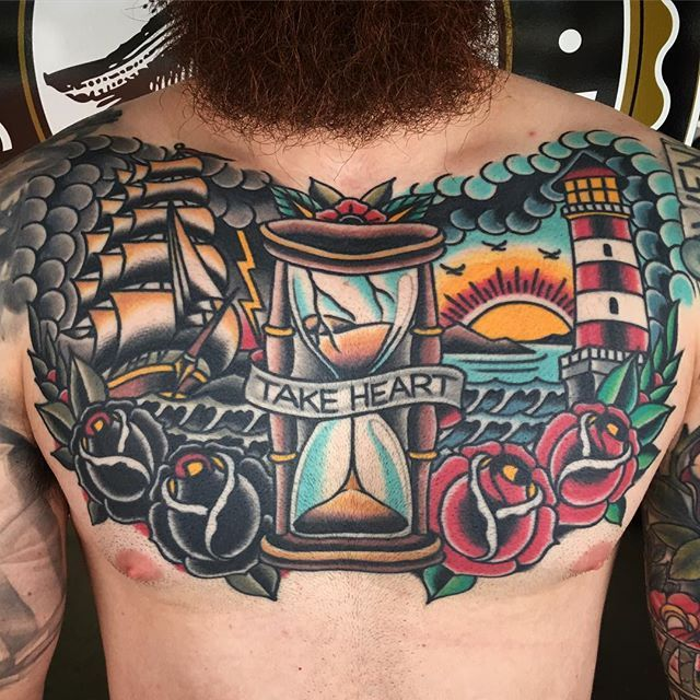 Finally got a healed pic of Joe's chest tattoo, a little over a year healed