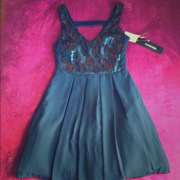 Home coming/ winter formal dress Navy blue short dress with blue sequins Dresses Mini