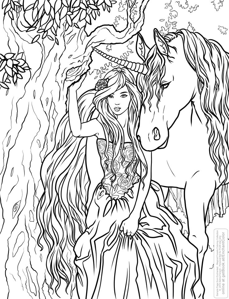 selina fenech unicorn fantasy myth mythical mystical legend licorne enchantment coloring pages - Coloring Pages Dragons Fairies
