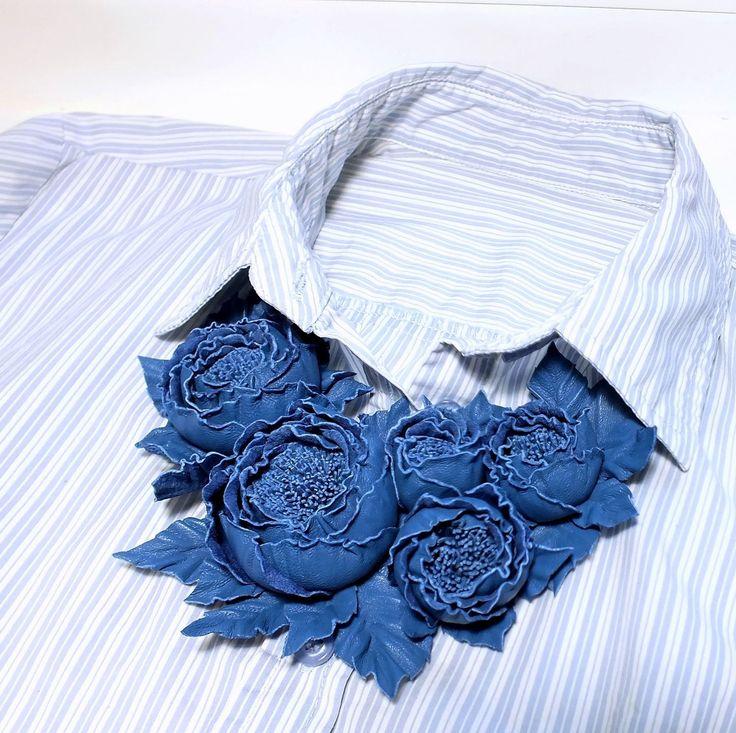 Купить Танец Роз. Синий Джинсовый. Колье из натуральной кожи в интернет магазине на Ярмарке Мастеров