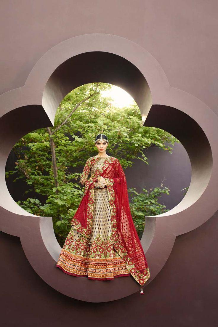 Cream Art Silk Bridal Lehenga
