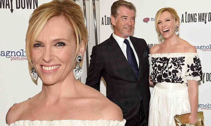 Pierce Brosnan & Toni Collette attend NYC premiere of A Long Way Down. Toni is wearing Hayden-Harnett's Bowdoin Clutch in 'goldmine'