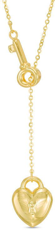Zales Heart-Shaped Lock and Key Lariat Necklace in 14K Gold
