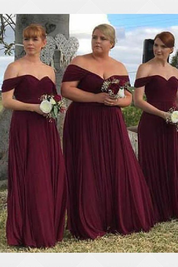 Customized fancy chiffon bridesmaid dress, burgundy bridesmaid dress