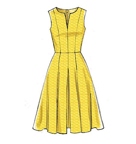 Vogue Easy Options Custom Fit dress sewing pattern. Features cup sizes for A, B, C, D cup sizes. V9167, Misses' Notch-Neck Princess-Seam Dresses