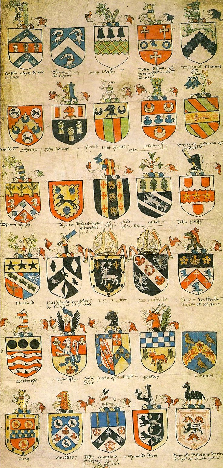 Roll of grants of arms and crests -- Tudor Roll of arms, by Sir Thomas Wrythe (alias Wriothesley, son of John) (Garter King of Arms, 1505-34), ca 1528. -- http://commons.wikimedia.org/wiki/File:Tudor_Roll_of_arms,_Sir_Thomas_Wriothesley.png                                                                                                                                                      More