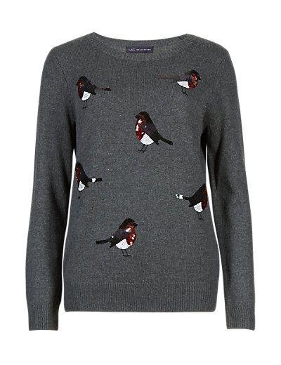 Sequin Embellished Robin Jumper | M&S
