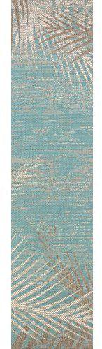 Bay Isle Home Karakoumi Tropical Palms Turquoise/Gray/Ivory Indoor/Outdoor Area Rug Rug