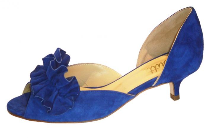 Wedding Kitten Heels: Blue Wedding Shoes With Low Kitten Heel