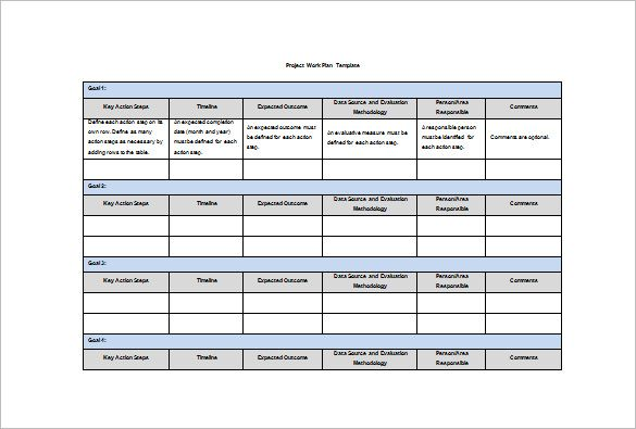 Image result for work plan outline