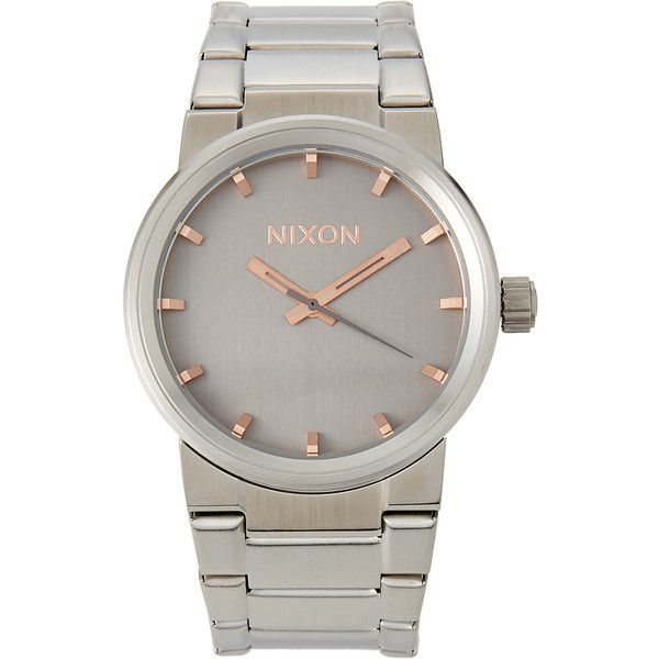 Nixon A160 Nickel-Tone Cannon Watch ($70) ❤ liked on Polyvore featuring men's fashion, men's jewelry, men's watches, white, mens water resistant watches, nixon mens watches, mens diamond bezel watches and mens white watches