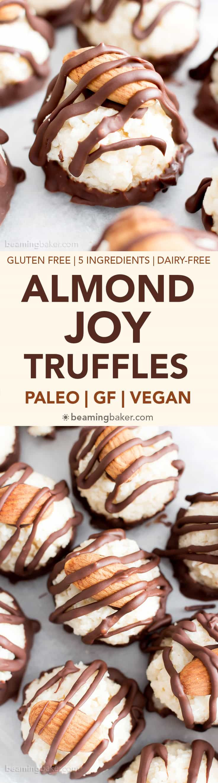 Paleo Vegan Almond Joy Truffles: a fun recipe for homemade candy truffles that taste just like Almond Joy!