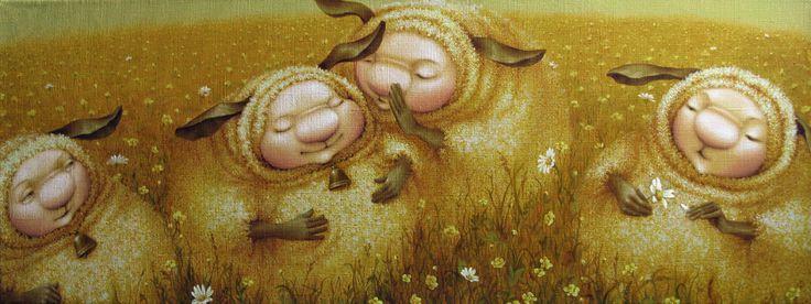 Сообщество иллюстраторов | Иллюстрация Таня Дешковец - Овечки. Живопись. Масло