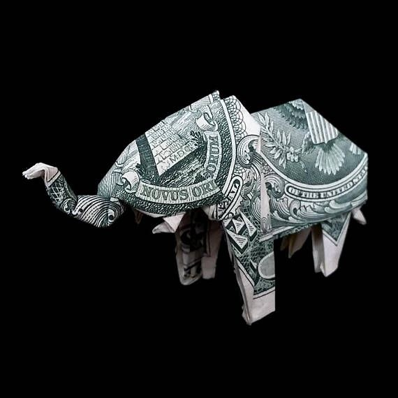 Origami Sculpture ELEPHANT 3D Gift Money Figurine Real One Dollar Bill 2.2 x 1.3 x 0.5 (55 x 32 x 13mm) Each item is made with the highest quality and attention to details. Only $0.50 shipping cost for each additional item!  I send by the Russian Post with tracking number. Shipping