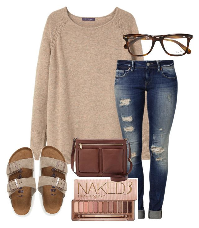 """I'm so tired"" by nikkinicholle ❤ liked on Polyvore featuring MANGO, Mavi, Ray-Ban, Urban Decay, FOSSIL and Birkenstock"