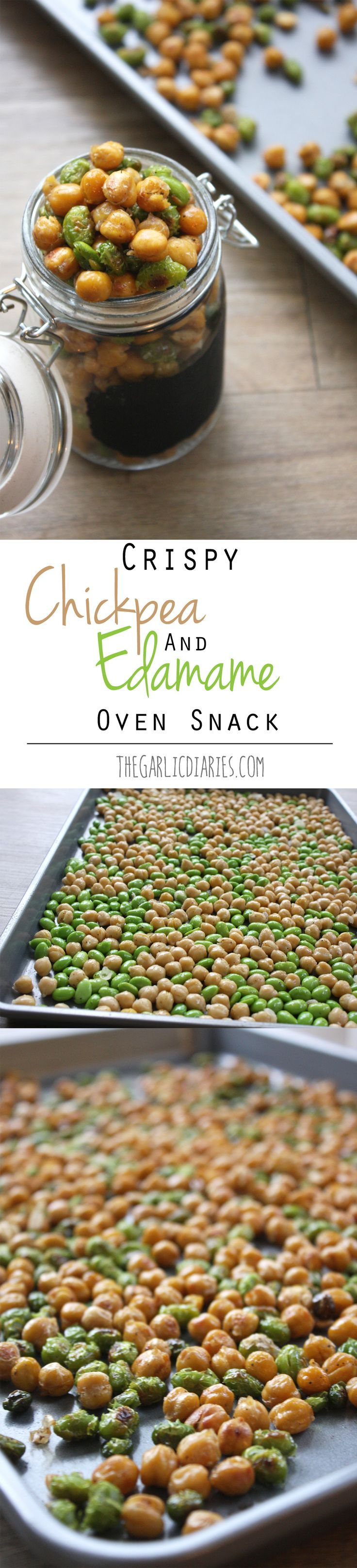 2- 16oz cans chickpeas, 1 1/2 cups edamame (2- 10oz steambags if in pods), olive oil, S&P 400degrees 30 min. stir halfway through