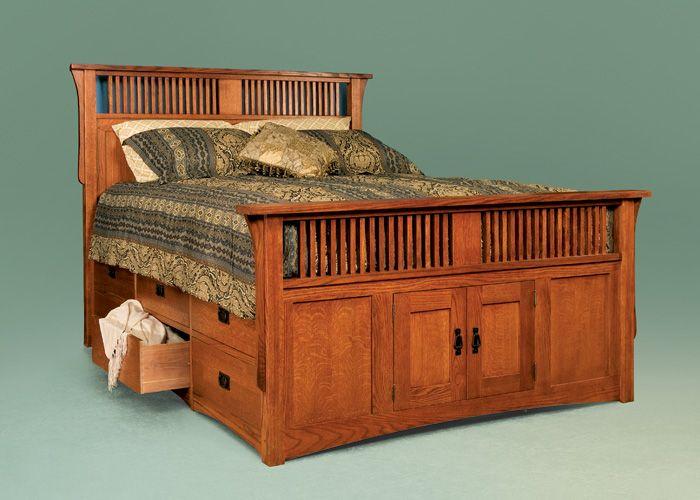Queen Panel & Spindle Twelve-Drawer Captain's Bed