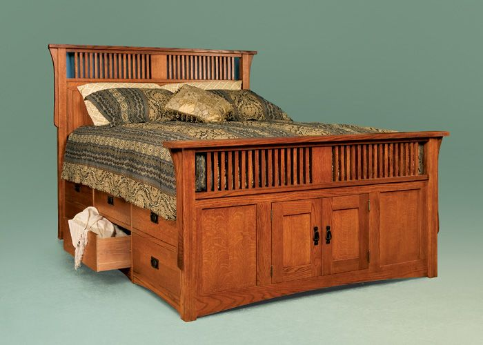 Queen Panel & Spindle Twelve-Drawer Captain's Bed