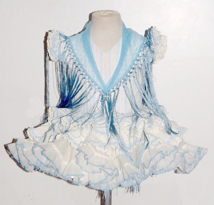Traje de gitana flamenca para niña MiBebesito gtn307 mantón azul