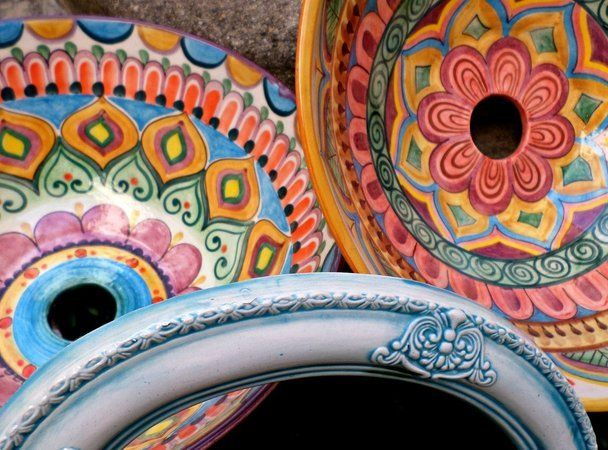32 best bachas images on pinterest | ceramic pottery, home and mosaics - Bachas Para Bano Pintadas A Mano