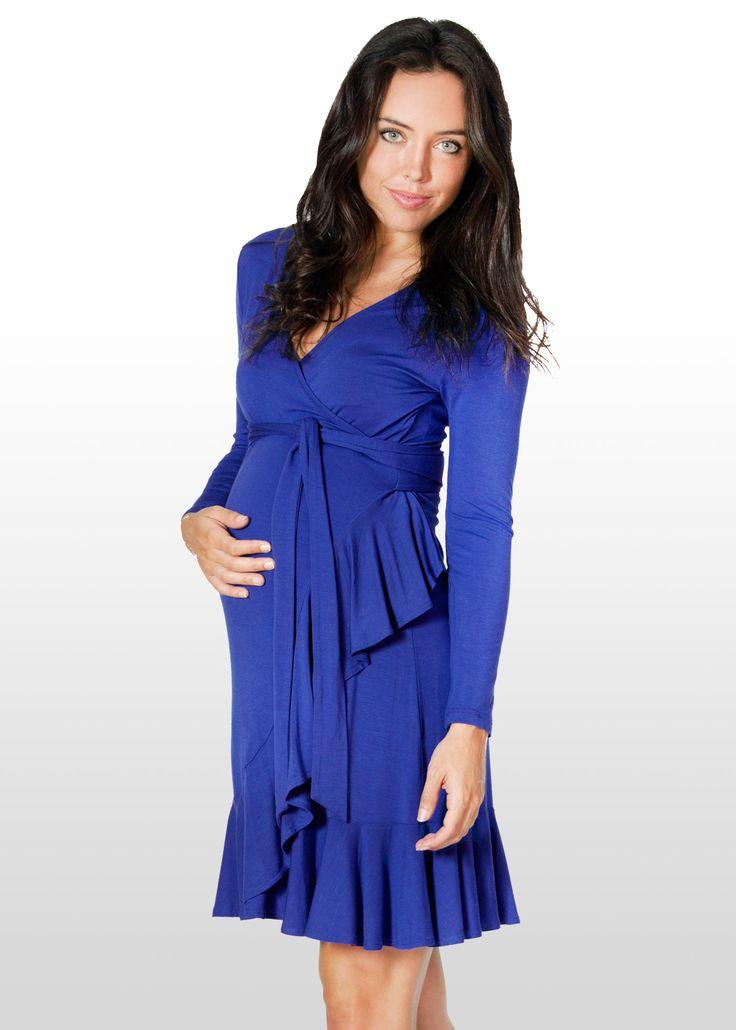 Blue Azure Wrap Maternity Dress www.dressmybump.net www.facebook.com/dressmybumpau