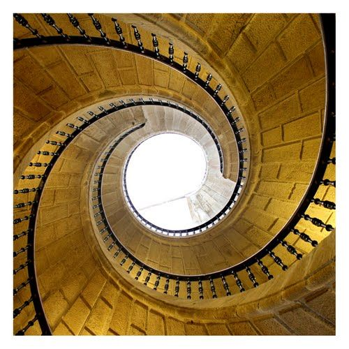 Triple staircase in Museum of the Galician People. Santiago de compostela, Galicia, Spain.